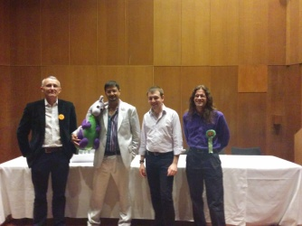 Four of the speakers, Rod, Puffles, Sam and Matt