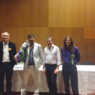 Four of the speakers, Rod, Puffles, Sam and Matt